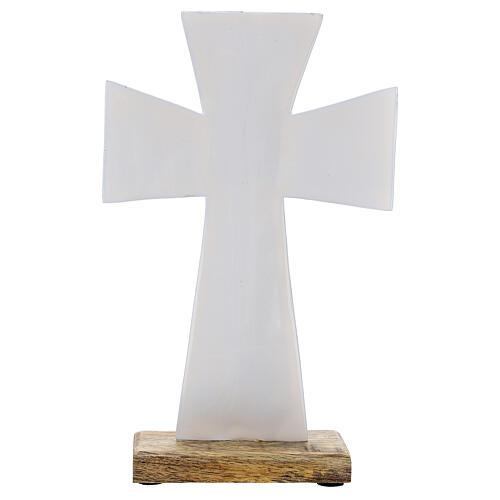 Croce smalto bianco ferro legno da tavolo 20 cm 3