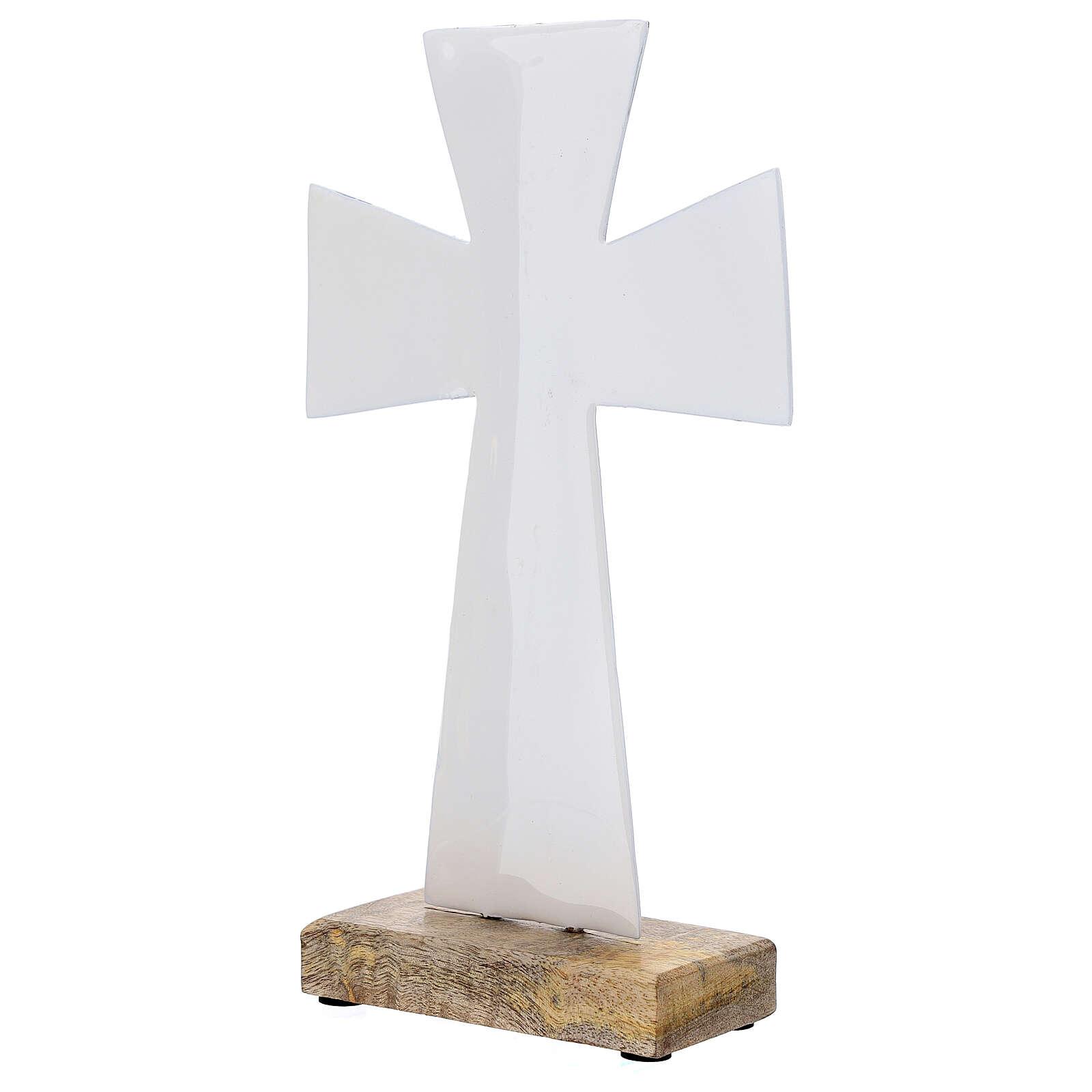 Cruz de mesa esmalte blanco 26 cm hierro madera 4