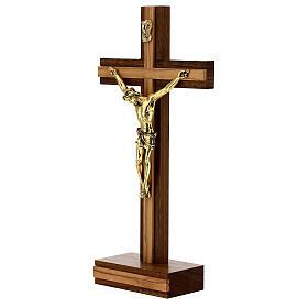 Crucifix de table bois noyer insert olivier corps doré 21 cm s3