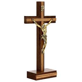 Crucifix de table bois noyer insert olivier corps doré 21 cm s4