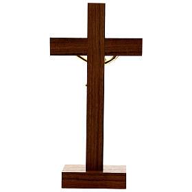 Crucifix de table bois noyer insert olivier corps doré 21 cm s5