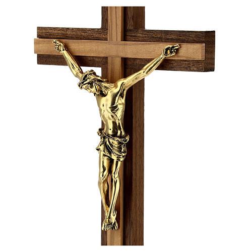 Crucifix de table bois noyer insert olivier corps doré 21 cm 2