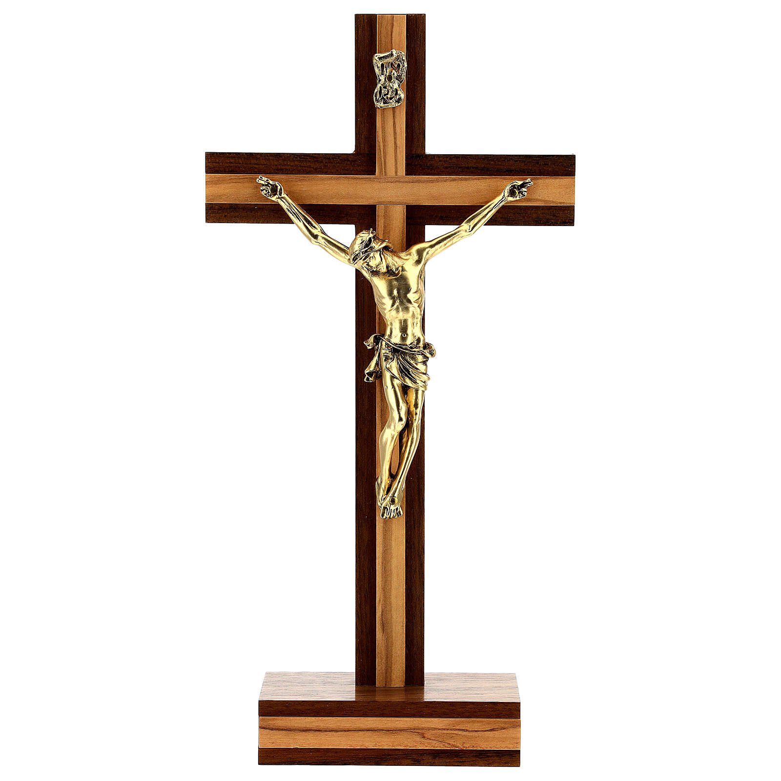 Crocefisso da tavolo legno noce inserto olivo corpo dorato 21 cm 4
