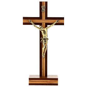 Crocefisso da tavolo legno noce inserto olivo corpo dorato 21 cm s1