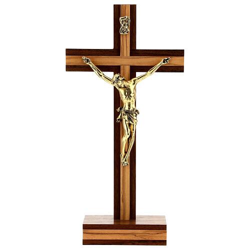 Crocefisso da tavolo legno noce inserto olivo corpo dorato 21 cm 1
