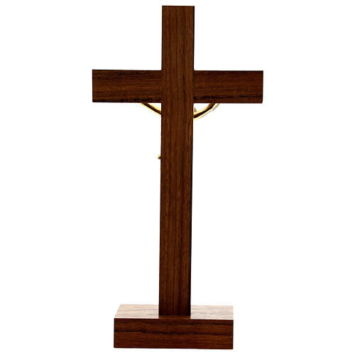Crocefisso da tavolo legno noce inserto olivo corpo dorato 21 cm 5