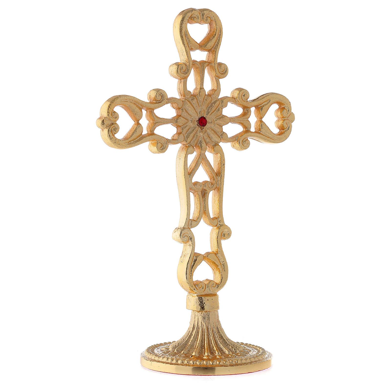 Croce con base traforata ottone dorato cristallo rosso h 21 cm 4