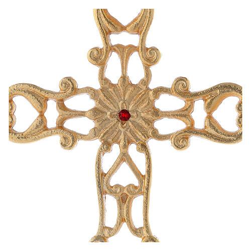 Croce con base traforata ottone dorato cristallo rosso h 21 cm 2