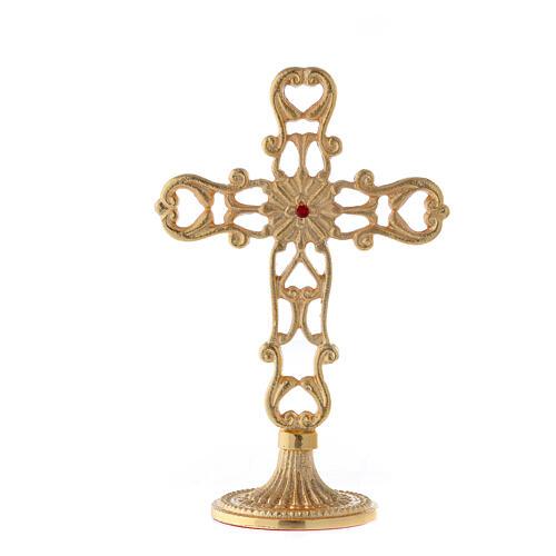 Croce con base traforata ottone dorato cristallo rosso h 21 cm 5