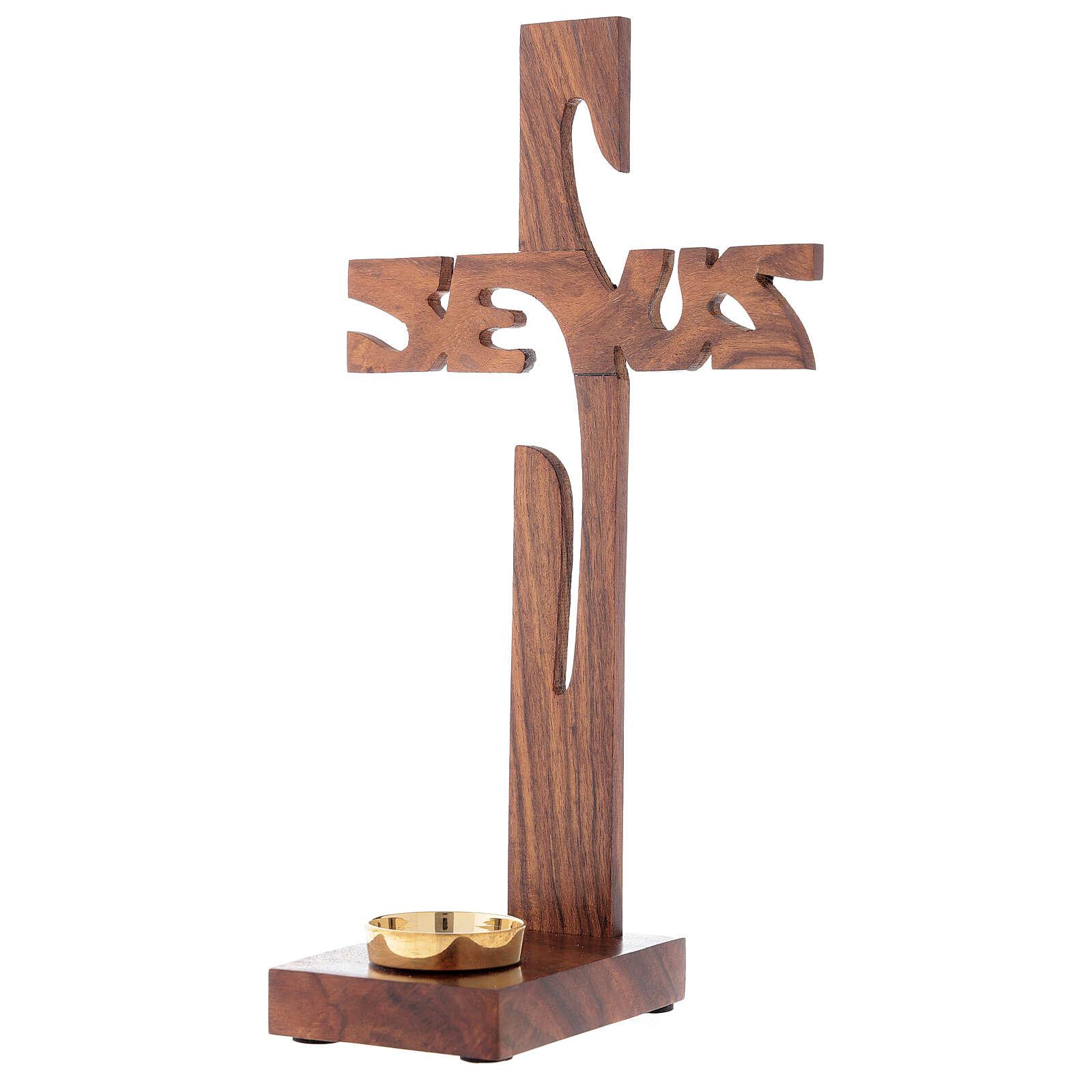 Croix à poser avec porte-bougie Jésus bois 29 cm 4