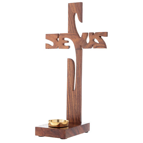 Croix à poser avec porte-bougie Jésus bois 29 cm 2