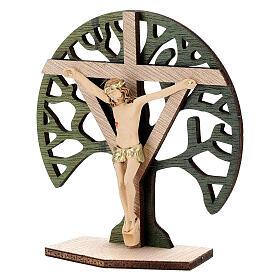 Crucifijo mesa Árbol Vida madera Cristo resina 9,5 cm s2