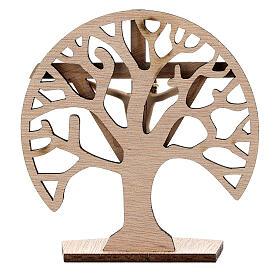 Crucifijo mesa Árbol Vida madera Cristo resina 9,5 cm s4