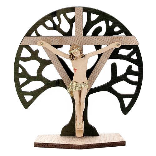 Crucifijo mesa Árbol Vida madera Cristo resina 9,5 cm 1