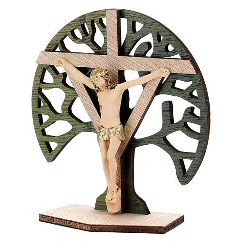 Crucifijo mesa Árbol Vida madera Cristo resina 9,5 cm 2