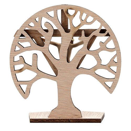 Crucifijo mesa Árbol Vida madera Cristo resina 9,5 cm 4
