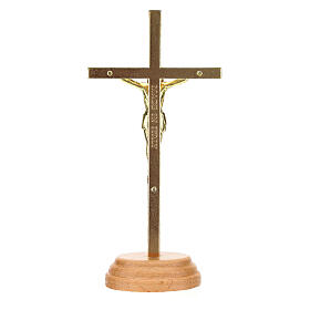 Crucifijo mesa dorado metal 12 cm s4