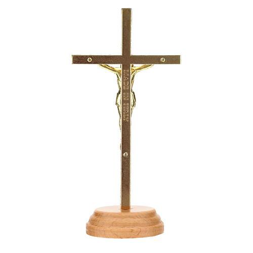 Crucifijo mesa dorado metal 12 cm 4