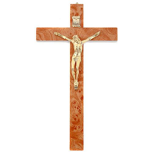 Crucifix en bois de racine doré 1
