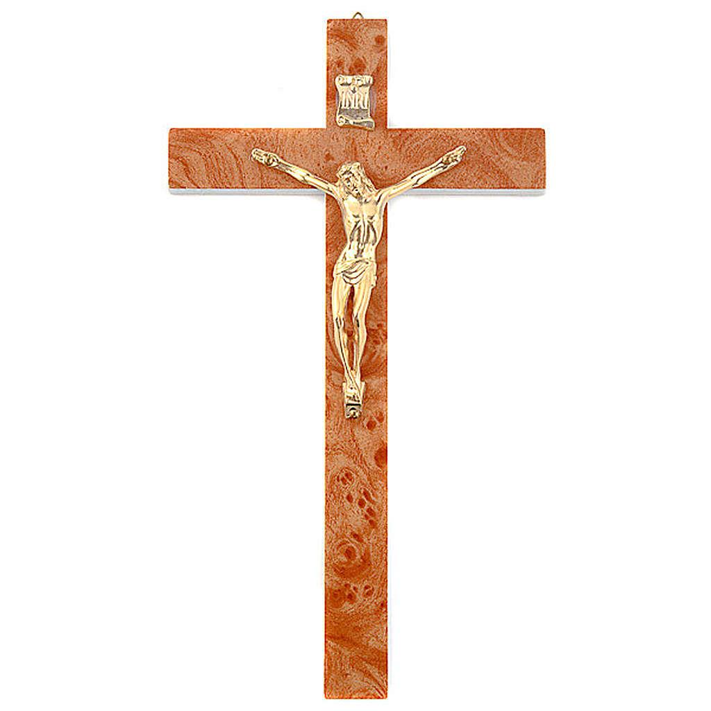 Crucifixo imitação rádica nogueira dourada 4