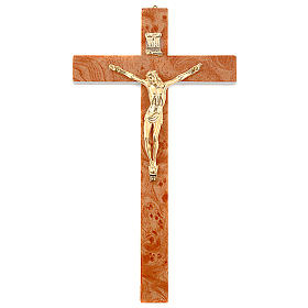 Golden walnut root-like crucifix s1