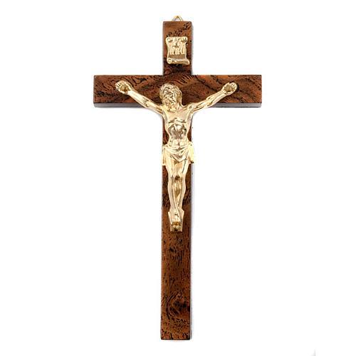 Crucifix en bois de racine doré foncé 1