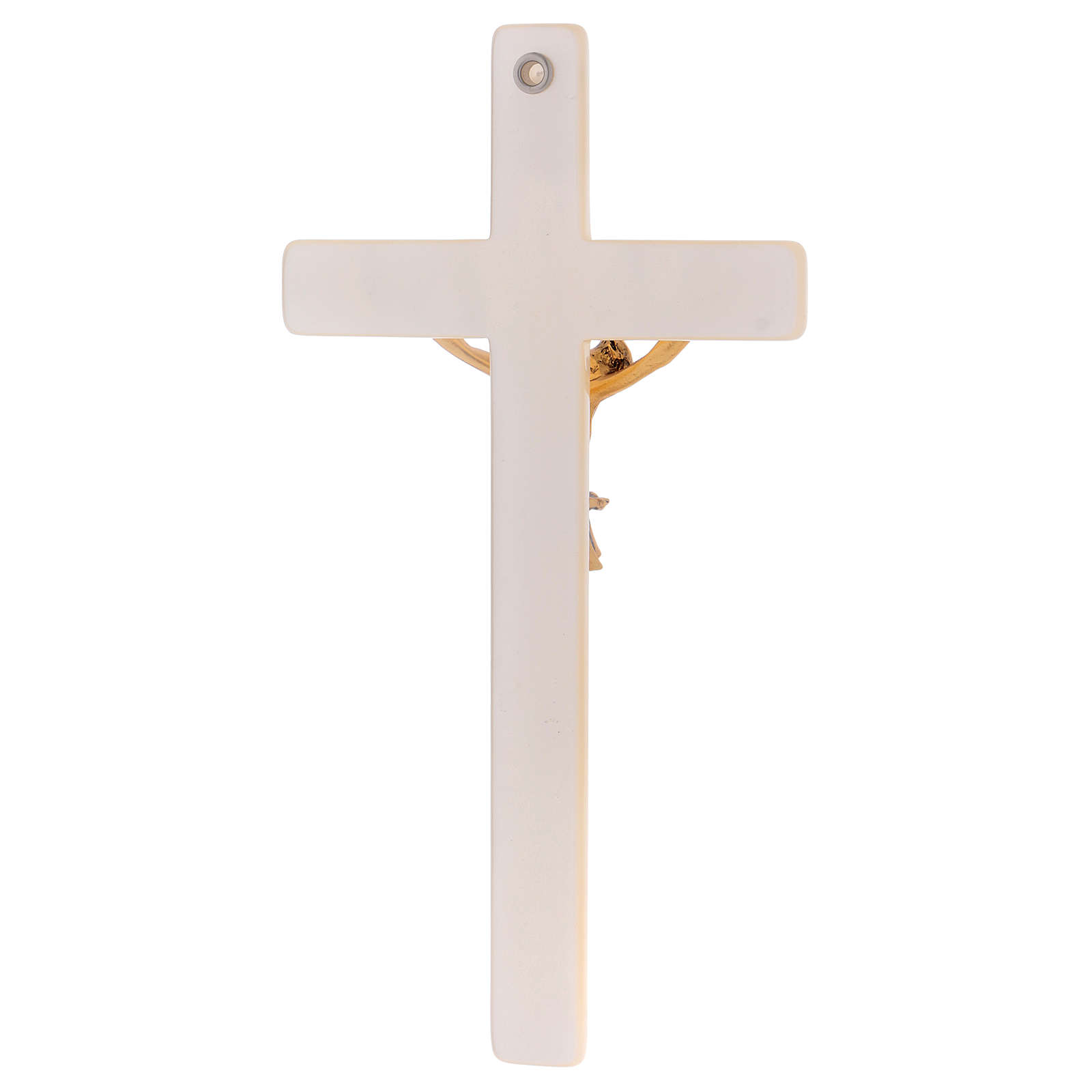 Crucifix in ivory fake pearl, golden metal corpus 4