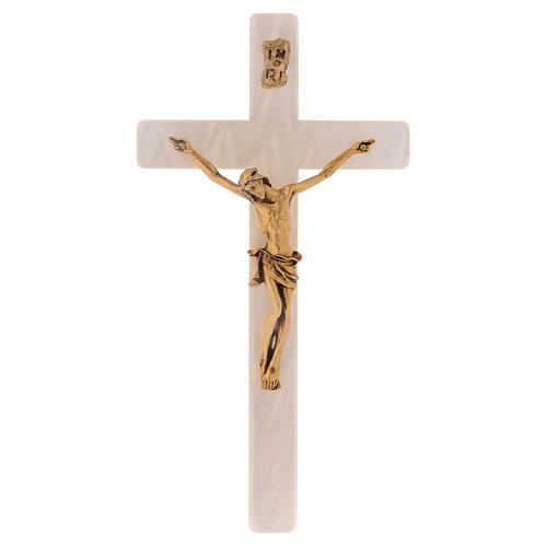 Crucifix in ivory fake pearl, golden metal corpus 1