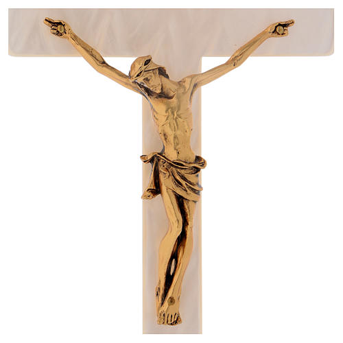 Crucifix in ivory fake pearl, golden metal corpus 2