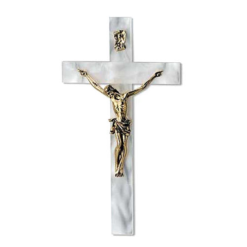 Crucifijo imitación nácar marfil cuerpo dorado 1