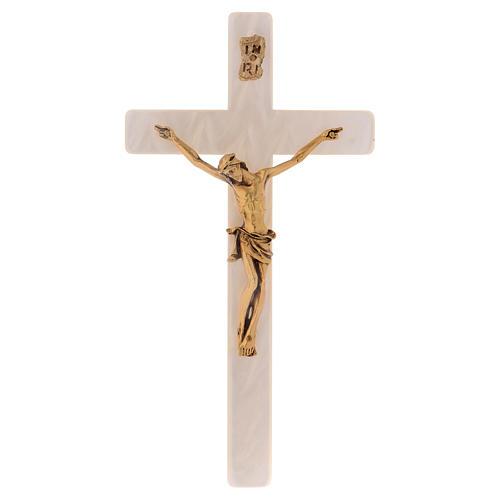Crucifix en simili nacre corps en métal doré 1