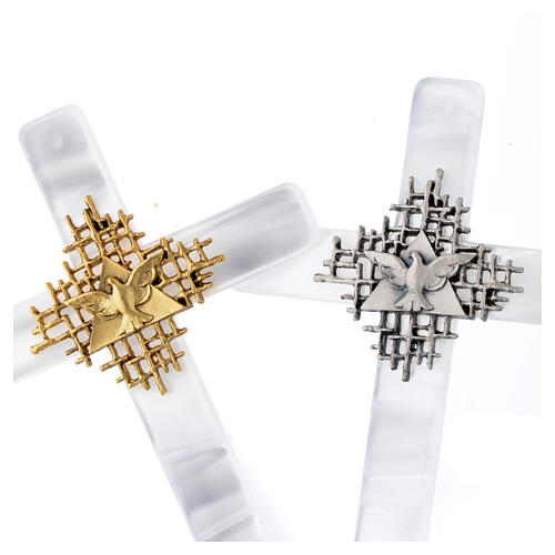 Krzyż imitacja masy perłowej Bóg Ojciec i Duch Å 4
