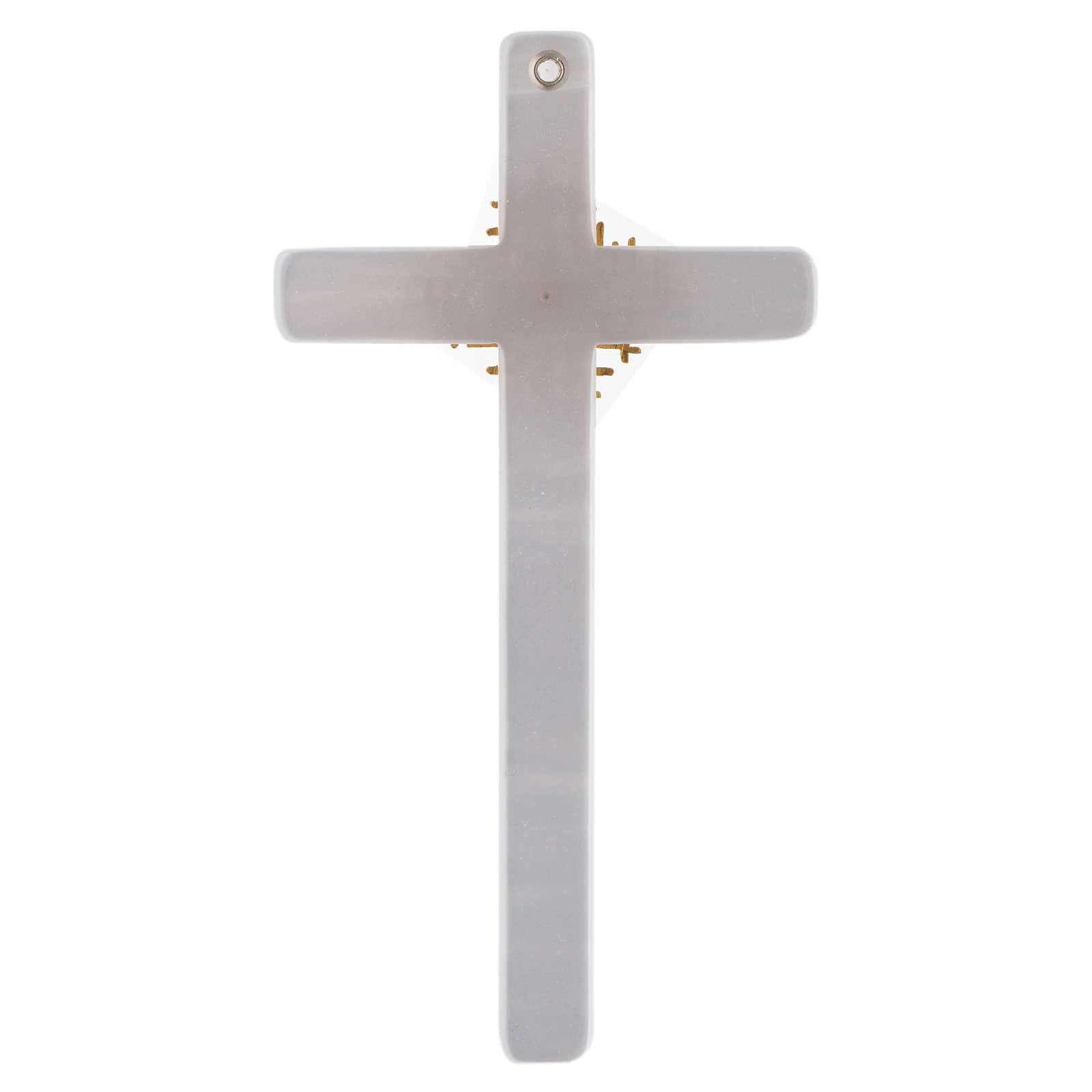 Crucifixo imitação madrepérola marfim Pai e Espírito Santo 4