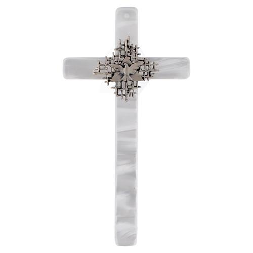 Crucifixo imitação madrepérola marfim Pai e Espírito Santo 1