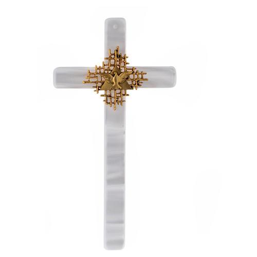 Crucifixo imitação madrepérola marfim Pai e Espírito Santo 2
