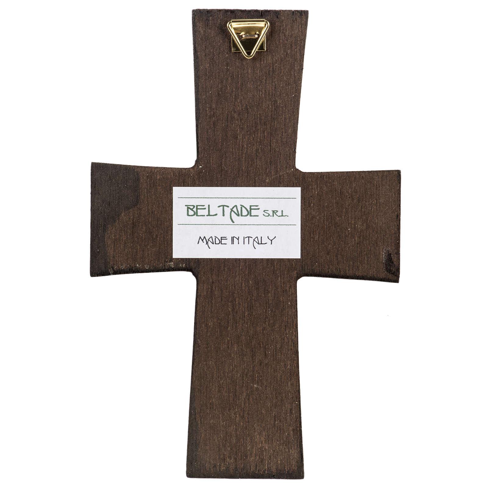Croce legno Natività stampa 14x9 4