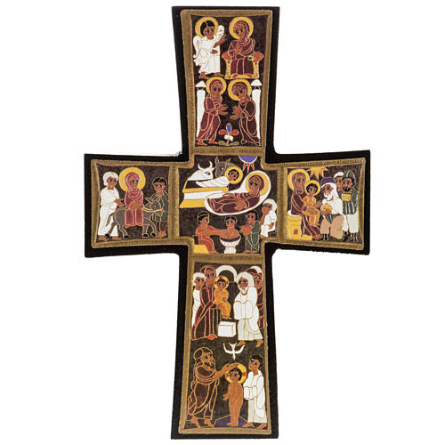 Croce legno Natività stampa 14x9 1