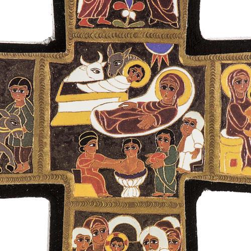 Croce legno Natività stampa 14x9 2