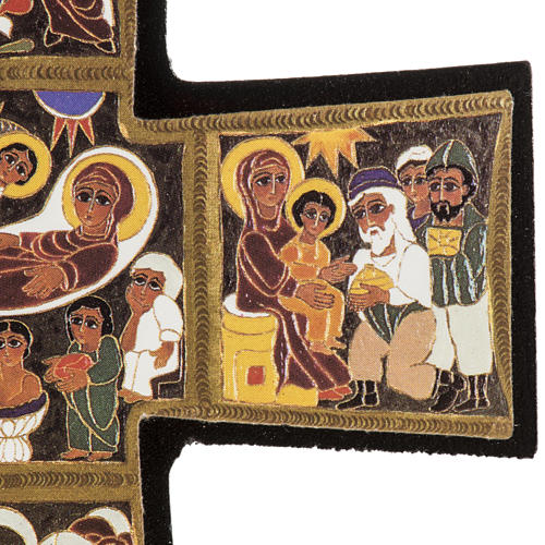 Croce legno Natività stampa 14x9 5