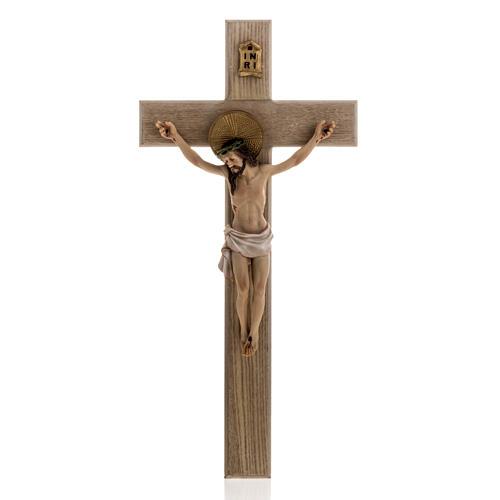 Crucifijo madera 40 cm cuerpo resina 1