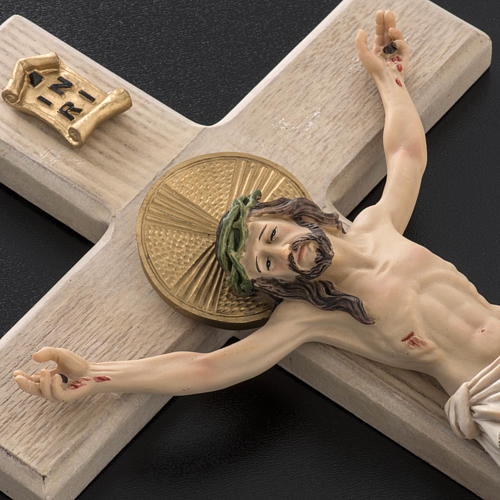 Crucifijo madera 40 cm cuerpo resina 3