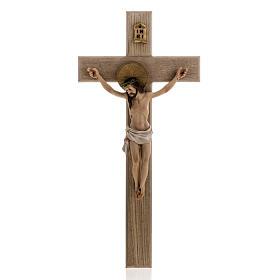 Crocifisso legno 40 cm corpo resina s1