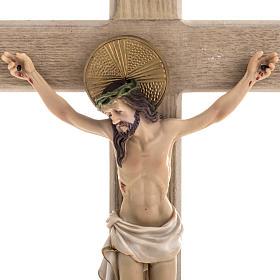 Crocifisso legno 40 cm corpo resina s2