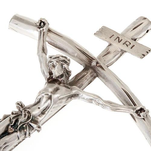 Crocefisso  Giovanni Paolo II argentato 26 cm 3