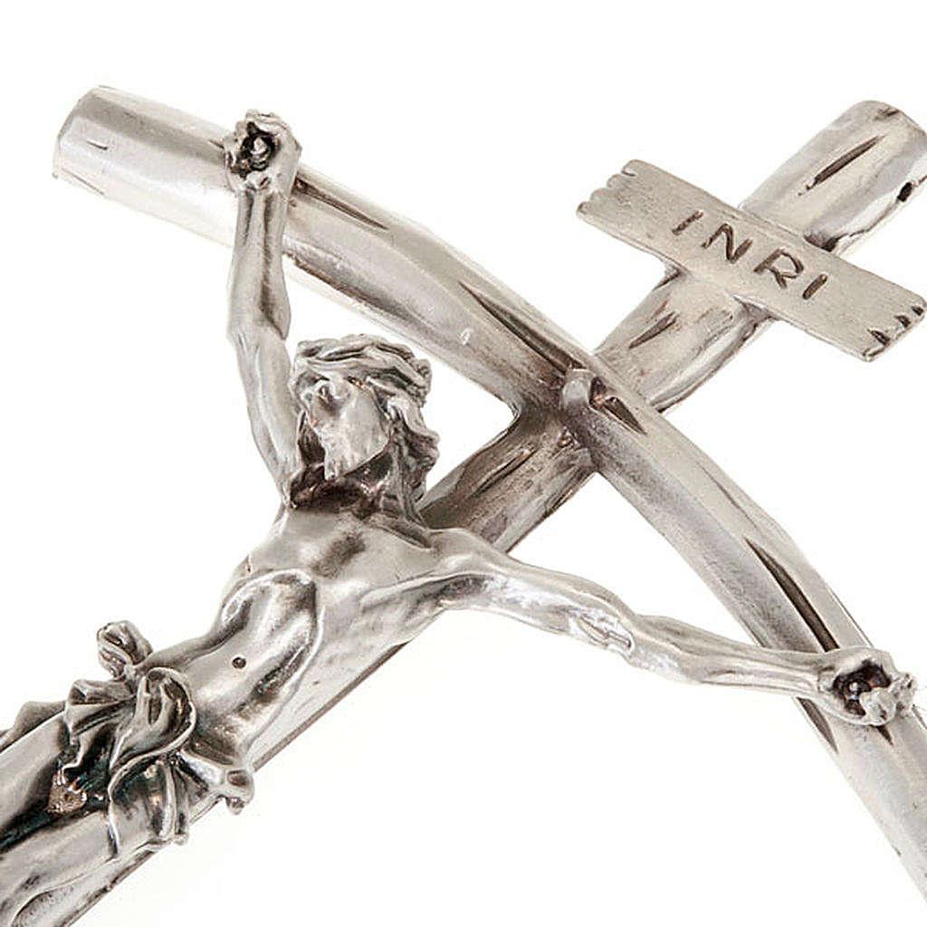 Krucyfiks Jana Pawła II posrebrzany 26cm 4