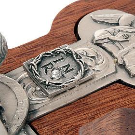 Crocefisso trilobato legno e metallo argentato s2