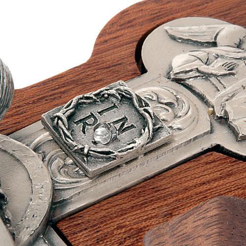Crocefisso trilobato legno e metallo argentato 2