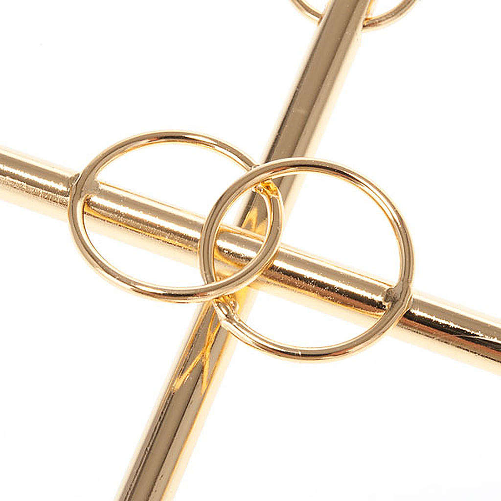 Wedding Cross in Golden Metal with 2 Intertwined Rings 4