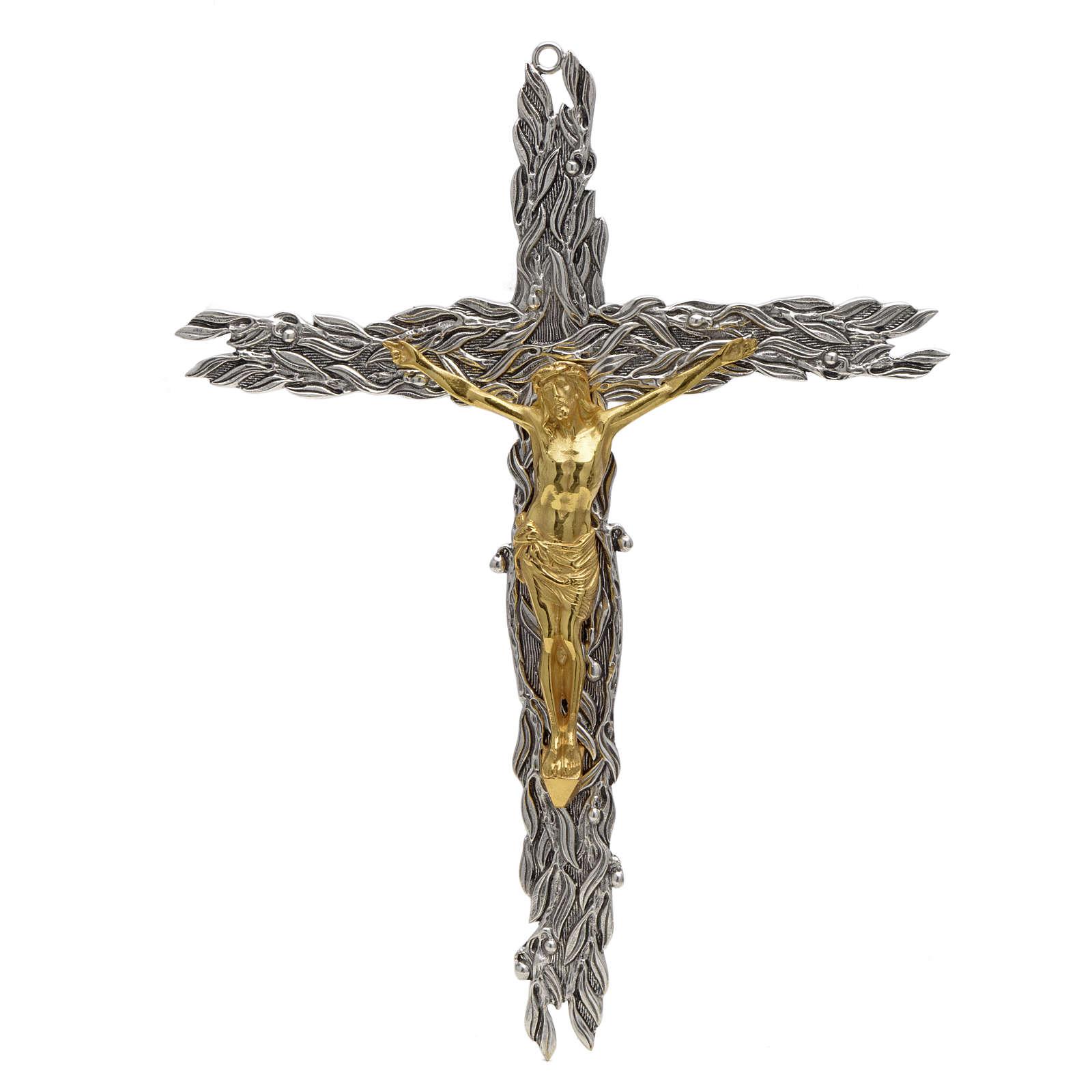 Crucifix en bronze feuilles olivier, fruits 4