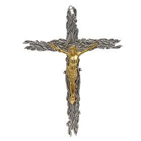 Crucifix en bronze feuilles olivier, fruits s1